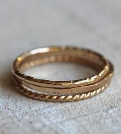 Gold Stacking Rings - Set of 3 by Praxis Jewelry on Scoutmob Shoppe