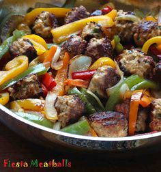 Packed full of flavor!  They're served with some simple sauteed bell peppers and onions that complement, rather than dominate, the flavor of the meatballs.