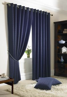Dark Blue Curtains Bedroom - Guest Bedroom Decorating Ideas Check more at iconoc. Blue Curtains Bedroom, Navy Blue Decor Living Room, Drapes Curtains, Pleated Curtains, Dark Blue Curtains, Blue Bedroom, Navy Curtains, White Curtains, Blue Curtains For Bedroom