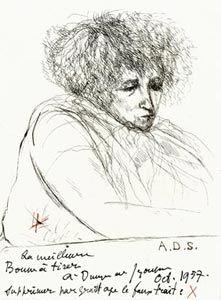 """André Dunoyer de Segonzac, Portrait de Colette (adressé à Fernand Mourlot? Datée 1957.) [Une des 6 eaux-fortes hors-texte par Dunoyer de Segonzac pour """"Les Cahiers de Colette no. 4 - Portraits et Paysages,"""" Paris, Les Amis de Colette, 1936.]"""
