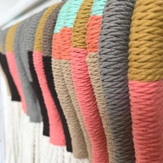 These Color-block Plant Hangers are part of our West Elm Spring collection. Materials: 100% Recycled Cotton Cord. Perfect to add a modern touch to any room of your home, office or creative space. Approximate Measurements: 36-37 without a pot 34 - 35 with a pot Please note that the
