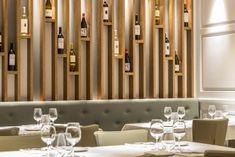 The Cullera de Boix Restaurant in Barcelona, Spain by Batua Interiores Creativos Bar Counter Design, Home Wine Cellars, Wine Cellar Design, Luxury Bar, Wine Wall, Wine Rack Wall, Wine House, Partition Design, Wine Shelves