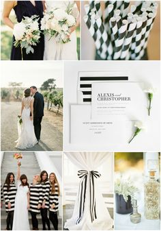 Black and White Striped Wedding Inspiration. We are loving the romantic look to these bold stripes!  #blackandwhite #stripes #weddinginspiration