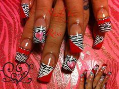 na by NAILS Magazine www.na - Valentine nails Nail Art Gallery nailartgallery.na by NAILS Magazine www. Crazy Nail Art, Crazy Nails, Fancy Nails, Pretty Nails, Zebra Nail Designs, Zebra Nail Art, Nails Design, Valentine Nail Art, Holiday Nail Art
