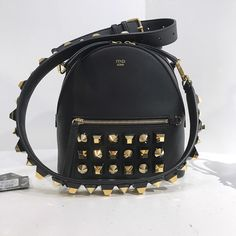 SALE FENDI Black Stud Shoulder Bag - New with Dustbag Retail   3130 after  tax Our rate   1830 plus shipping DM your email and country for an invoice! 5555a9bd5a2