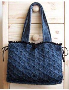 Knitted bag that can also hold other knitting projects. Pattern: Victoria, by Francoise Davis. Nice texture from the stitch pattern, plus little beading and little edging and ribbon.