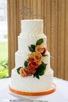 textured buttercream wedding with fresh rose cascade  by Piece OCake