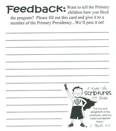 Comment Cards For Primary Program  Church    Primary