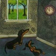 DACHSHUNDS WAITING FOR LUNCHTIME by LittleEllensArt on Etsy | Original signed digital print on quality card stock in fade resistant quality inks.  Another Dachshund reproduction print from aN ORIGINAL painting by Southwestern Ontario artist Ellen Haasen. She has works in a variety of media, as well as canvas and prints in a number of Ontario collections and beyond.