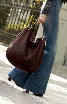 Chocolate brown leather hobo bag and bell bottoms. Yay!