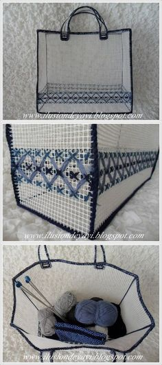 Tutorial bolso plastic canvas NO SEW this would be great to hold my big crochet projects! Plastic Canvas Crafts, Plastic Canvas Patterns, Diy Recycling, Bargello, Diy Canvas, Handmade Bags, Bag Storage, Sewing Projects, Crochet Projects