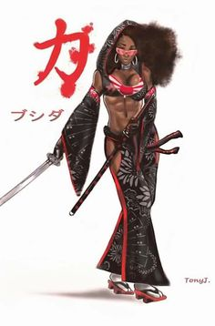 Bushida by Sketchjitsu on DeviantArt Sexy Black Art, Black Love Art, Black Girl Art, Black Is Beautiful, Afro Samurai, Samurai Art, Arte Cholo, Black Anime Characters, Black Comics