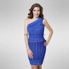 Herve Leger Blue Plover One Shoulder Sexy Bandage Dress H886BL