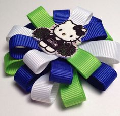 """Seattle Seahawks Football Hair Bow 3"""" Hello Kitty Cheerleader Blue Green White  Boutique - Girls Clip  - Super Bowl on Etsy, $5.00"""