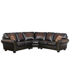 Shop Abbyson Melrose Bonded Leather Sectional - On Sale - Overstock - 14458113 3 Piece Sectional, Leather Sectional, Sectional Sofa, Brown Sofa, Bonded Leather, Nailhead Trim, Dark Brown Leather, Decorative Pillows, Amazon Sofa