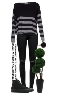 """""""// he who hesitates, disintegrates //"""" by jlol ❤ liked on Polyvore featuring J Brand, Murbes, Converse and Ginette NY"""