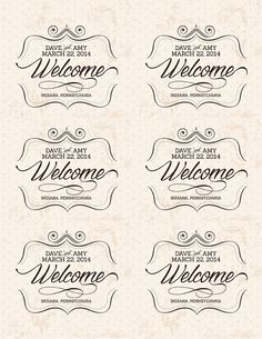 "Custom Wedding Welcome Bag Labels, 3.25"" x 4"", Printable, DIY, Vintage, Tags, Labels, Stickers"