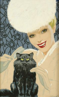 "Dal Holcomb (1901-1978) - ""Beauty with black cat"", gouache, 1945/1950"