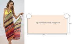 MOLDE DE VESTIDO DE PRAIA Este molde de vestido de praia é simples, analise a imagem e corte no tecido com as medidas que a imagem sugere. O grau de dificu