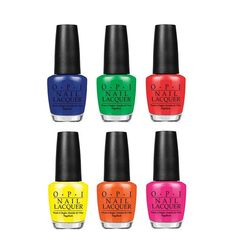 The complete OPI TRUNEON Collection.  Neons are making a fashion comeback, and OPI has bottled the brightest, juiciest and punchiest of the bunch with TRUNEONS, a collection of six seriously vibrant nail lacquer shades.