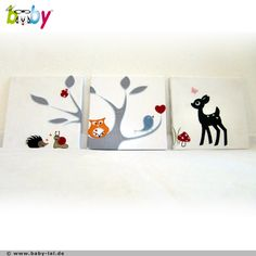 *Traumhaftes Kinderzimmer Bild-Serie bestickt auf weißem Baumwollstoff und auf Keilrahmen bespannt.   Somit ist eine Rahmung nicht notwendig, die Bild