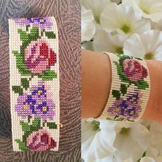 Loom Bracelet Patterns, Bead Loom Bracelets, Bead Loom Patterns, Stitch Patterns, Beaded Embroidery, Hand Embroidery, Seed Bead Crafts, Bead Crochet, Loom Beading