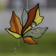 stained glass fall maple leaf suncatcher, stain glass autumn leaf ornament on Etsy