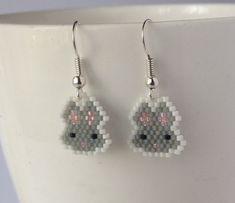 Beaded Rabbit Earrings ~ Bunny Dangle Earrings ~ Bead Jewellery Jewelry by GoodBeadDeeds on Etsy https://www.etsy.com/listing/243328020/beaded-rabbit-earrings-bunny-dangle