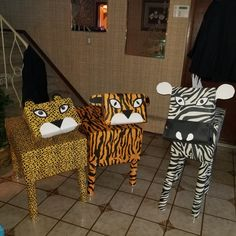 Tiger leopard and zebra for safari party