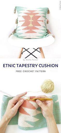 Simple and cozy crochet pillows tapestry crochet bags free patterns Crochet Anchor, Crochet C2c, Crochet Hooks, Free Crochet, Crochet Pillow Patterns Free, Tapestry Crochet Patterns, Knitting Patterns, Crochet Cushion Cover, Crochet Cushions