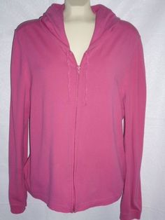 Womens OLD NAVY Perfect Fit HOT PINK Hoodie Stretch Zip Front EXC Sz XL #OldNavy #Hoodie