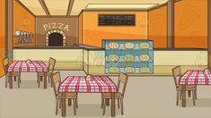 Inside a Pizzeria background Cartoon Stock Clipart Vector Toons Orange walls Blackboard menu Wooden chair