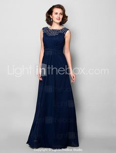 Lanting Bride® A-line Plus Size / Petite Mother of the Bride Dress Floor-length Sleeveless Chiffon withBeading / Crystal Detailing / 2017 - $116.99