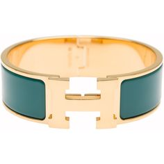 Pre-Owned Hermes Emerald Enamel H Clic Clac H Wide Enamel Bracelet PM ($650) ❤ liked on Polyvore featuring jewelry, bracelets, green, wide bangle, emerald green jewelry, multicolor jewelry, tri color jewelry and emerald jewelry
