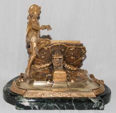 Encrier Porte Lettres En Bronze Doré Signé R Marquet 1875-1939, Galerie Lauretta, Proantic
