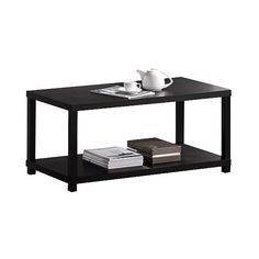 Coffee Table Espresso (180 BAM) ❤ liked on Polyvore featuring home, furniture, tables, accent tables, brown, rectangular table, rectangular coffee table, wooden table, rectangle coffee table and wooden shelf