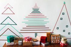 árbol de navidad para pegar en la pared con celo de colores christmas tree washitape