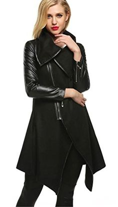 66db36b9209 Womens Trench Coat Casual Splicing Zip Up Long Sleeve High Low Hem Outwear  XL Black ** Want to know more, click on the image. (Note:Amazon affiliate  link)
