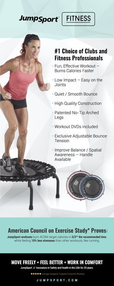 JumpSport Fitness Trampolines!  Revolutionize your workout with the best fitness trampoline on the market.  Guaranteed To Be The Best High-Intensity, Low Impact Workout You've Ever Had!