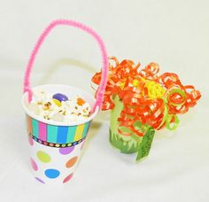 May Baskets:Use a cute party cup (or even a dixie cup) - attach a chenille stem or some curling ribbon for a springy look. Party Cups, Tea Party, May Day Baskets, May Days, Curling, Ribbon, Easter, Fun, Tape