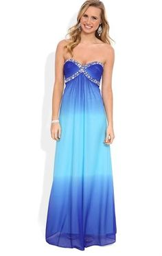 Deb Shops #Ombre Long #Prom #Dress with Stone Sweetheart Bodice and Babydoll Skirt $139.90