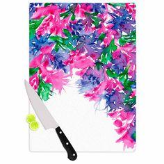 """Ebi Emporium """"Floral Cascade 1"""" Pink Green Cutting Board"""