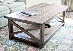 Cheap Modern Rustic Coffee Table. Plans for building your own Wooden pallet coffee table included.