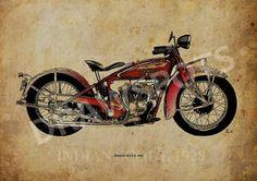 INDIAN SCOUT 1928  Original Handmade Art Print  Serie by drawspots #motorcycle #art #gift #giftforhim #gift #birthday #valentine #valentinesday #drawing