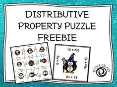 """Distributive Property Puzzle.    """" Distributive Property Puzzle FREE is a distributive property puzzle that your students can complete to practice with the distributive property. There are 12 distributive problems- after printing and cutting apart the cards students will simply have to line them back up in a way that matches the problems with the answers and put the puzzle back together."""""""