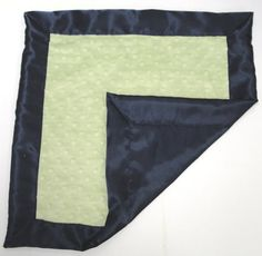 Personalized Baby Blanket Green and Blue Minky Satin Blanket Lovey 15x18 inches Sage and Navy Blue