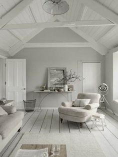 white interior design 2012 home design decorating Interior Inspiration, Room Inspiration, Cosy Living, Coastal Living, Cottage Living, Shades Of Grey Paint, 50 Shades, Interior Design Minimalist, Style At Home