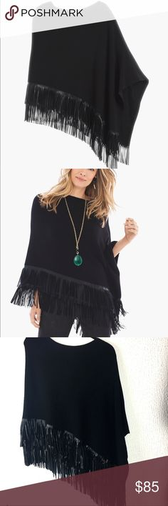 """NWT CHICOS MELISSA FRINGE BLACK PONCHO ONE SIZE BRAND NEW- never worn! Warm and cozy turns up the drama. This boatneck poncho creates a comfy version of chic with a flurry of fringe at the hem. Length: 23"""". Cotton, rayon and nylon. Polyurethane fringe. Machine wash. Imported. Chico's Sweaters Shrugs & Ponchos"""