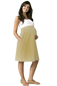 Empire Cotton Maternity Dress by Maternal America - Khaki | Maternity Clothes    available at www.duematernity.com