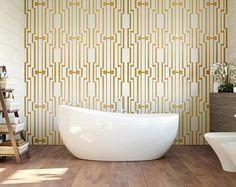 Gold Art Deco - Removable Wallpaper - Repositionable Wall Sticker - Adhesive Wallpaper - Leaves - Purple - Custom Wallpaper